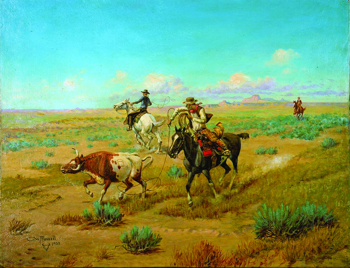 "Fig. 10: Olaf C. Seltzer (1857-1977). Untitled (cowboys roping a steer on the plains), 1903. Oil on canvas. 20.75 x 26.625 inches. Gift of Mr. and Mrs. I.H. ""Larry"" Larom. 22.74"