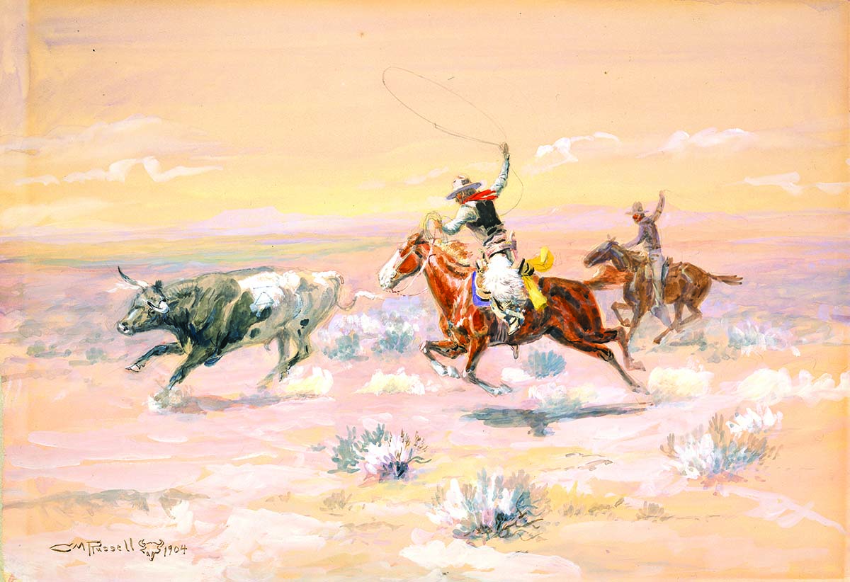 "Fig. 12: Russell's ""Cowboys from Bar Triangle,"" 1904. Watercolor on paper. 11 x 16 inches. Gift of William E. Weiss. 59.72"