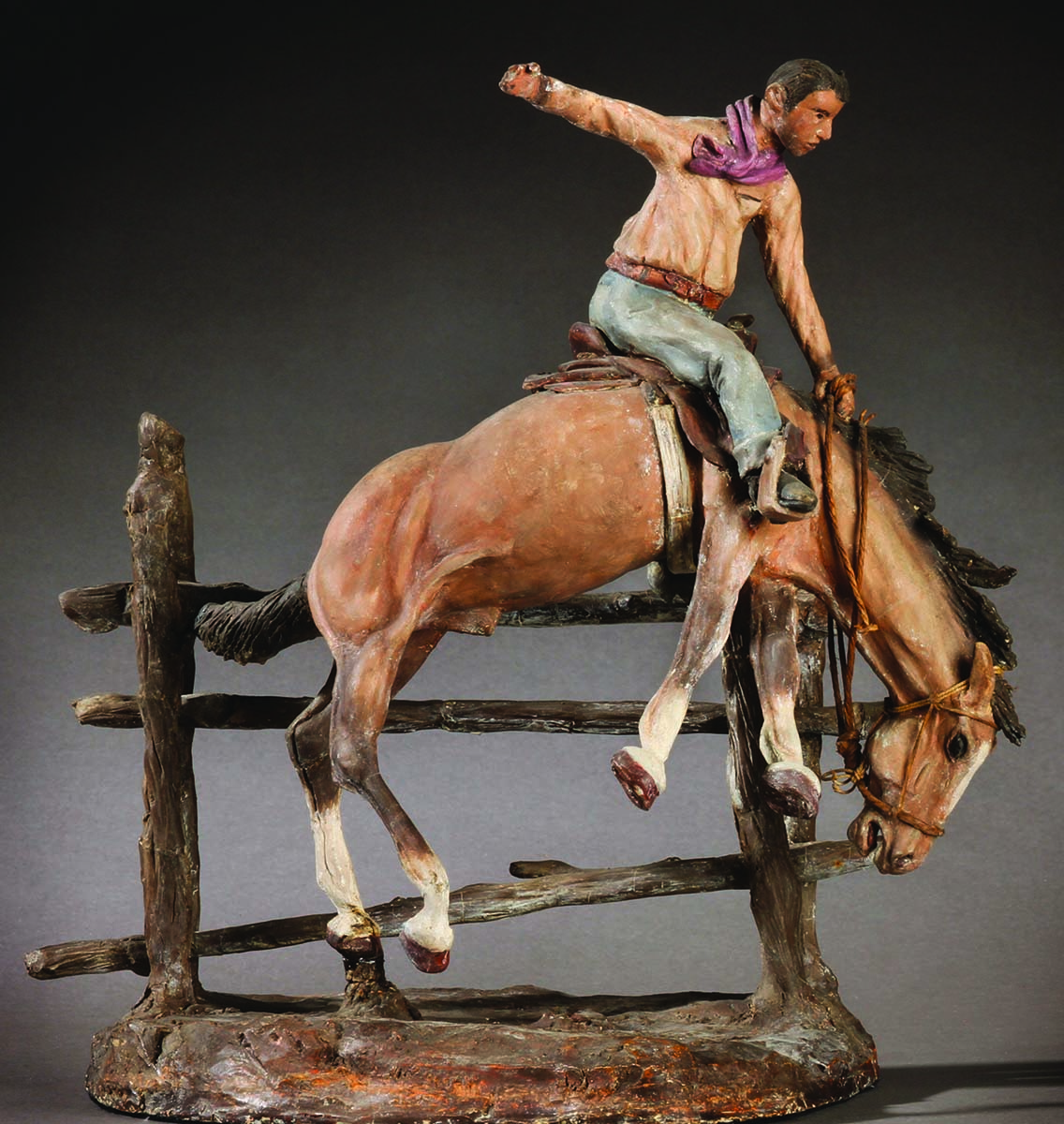 "Fig. 5: E.E. Heikka (1910-1941). ""Cowboy on a Bucking Bronco,"" ca. 1931. Painted plaster. 11.75 x 8.25 x 12 in. Gift of Mr. and Mrs. I.B. Bloxum. 20.82"