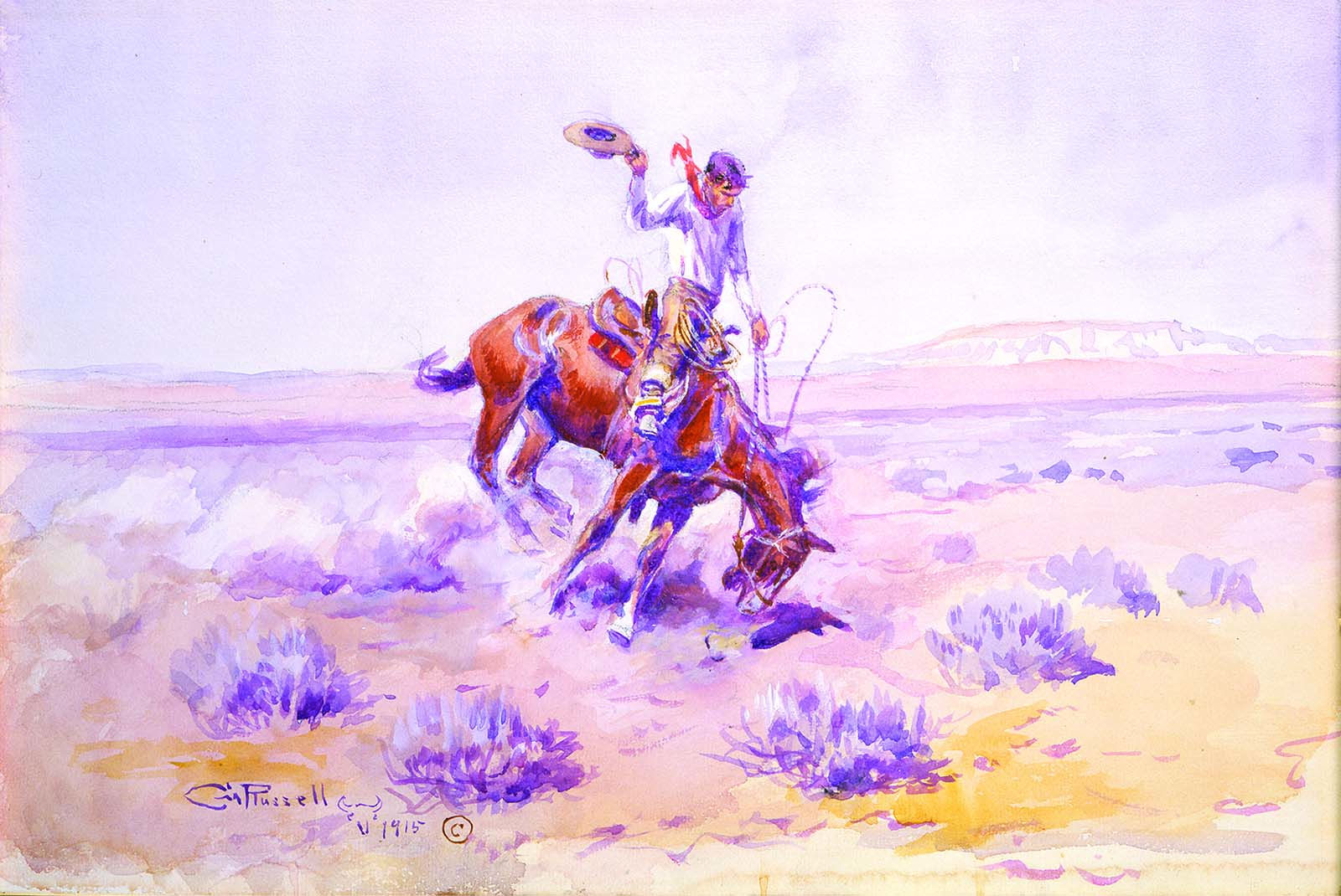 "Fig. 6: Russell's ""Bronco Buster,"" 1915. Watercolor on paper. 11 x 16.625 inches. Gift of William E. Weiss. 58.72"