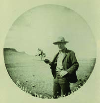 Fig. 7: Russell with cowboy sculpture, ca. 1897. C.M. Russell Museum, Great Falls, Montana.