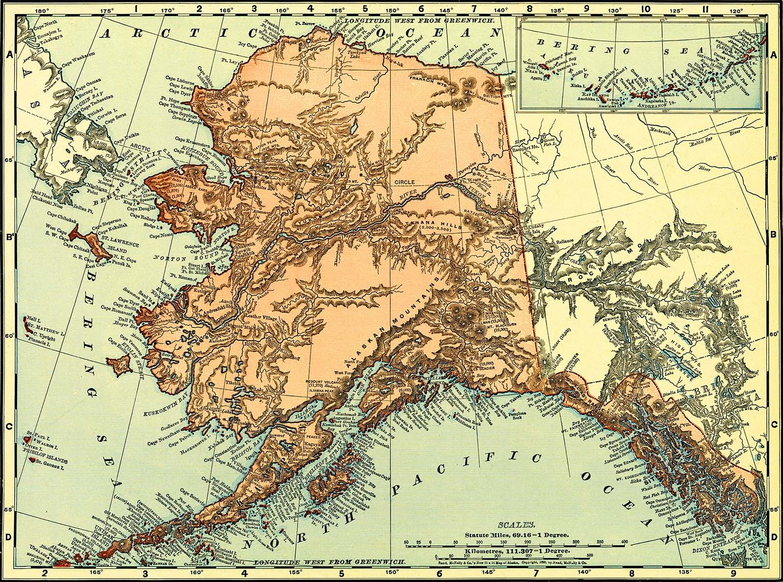 A map of Alaska Territory in 1895. Note the coastal region, with densely identified natural features or settlements, and the relatively blank interior.