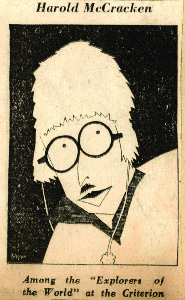 """Fig. 9: Newspaper caricature of McCracken, preserved in his """"Explorers of the World"""" scrapbook. MS 305 Harold McCracken Photograph Collection, McCracken Research Library. MS 305.04.030a"""