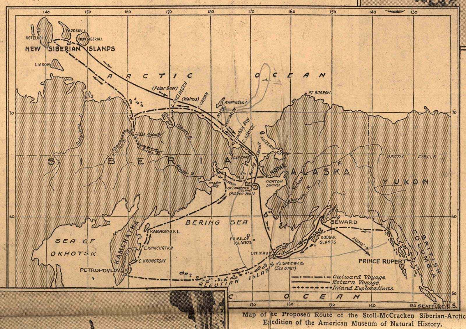 """Map, Stoll-McCracken Siberian-Arctic Expedition of the American Museum of Natural History, published in the """"New York Times"""" April 8. 1928. Scrapbook, MS 305 Harold McCracken Photograph Collection, McCracken Research Library. MS305.02.010"""