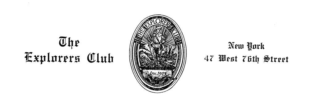 Explorers Club letterhead.