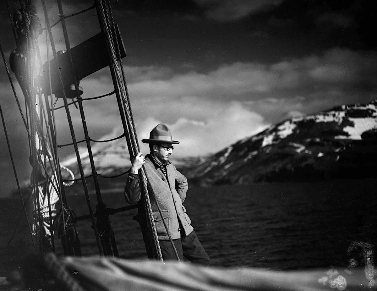 Harold McCracken on the schooner Morrissey, ca. 1928. MS 305 Harold McCracken Photograph Collection, McCracken Research Library. N198#F1253V
