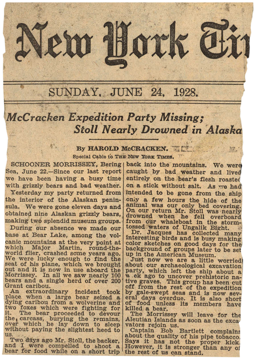 """One of Harold McCracken's dispatches appearing in the """"New York Times,"""" June 24, 1928. MS 305 Harold McCracken Photograph Collection, McCracken Research Library. MS305.02.023"""