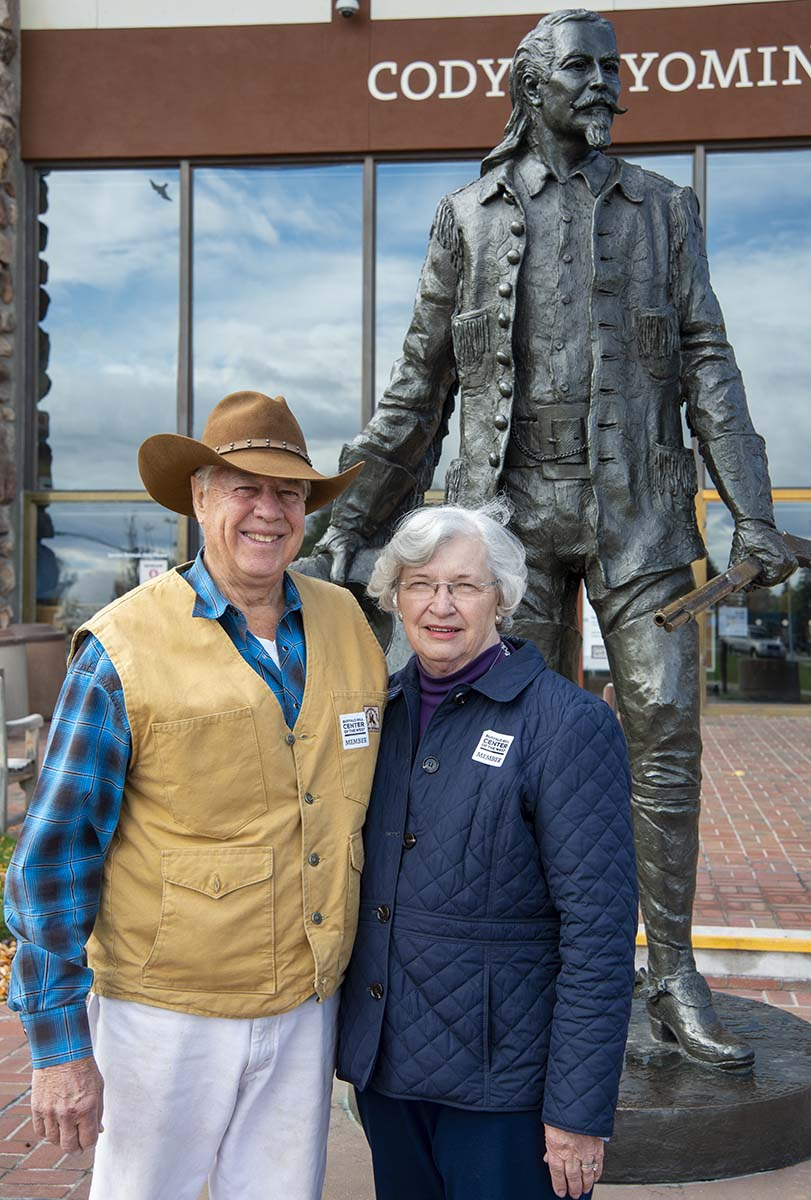 Charlie and Sue Abercrombie are longtime supporters of the Buffalo Bill Center of the West. Sculpture: Bob Scriver (1914-1999). Buffalo Bill - Plainsman, 1976. Cast by Modern Art Foundry,  New York. Bronze. Museum purchase. 12.77