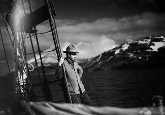 Harold McCracken on the schooner Morrissey, ca. 1928. MS 305 Harold McCracken Photograph Collection, McCracken Research Library. N198#F1253V (detail)