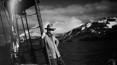 Harold McCracken on the schooner Morrissey, ca. 1928. MS 305 Harold McCracken Photograph Collection, McCracken Research Library. N198#F1253V (detail)