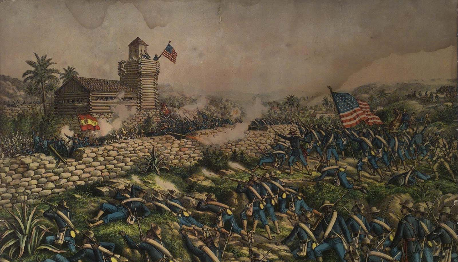"""Lithograph, 1899: """"Charge of the 24th and 25th Colored Infantry and Rescue of Rough Riders at San Juan Hill,"""" July 2, 1898. Copyrighted 1899 by Kunz & Allison, 267-269 Wabash Ave., Chicago. 1.69.5750"""