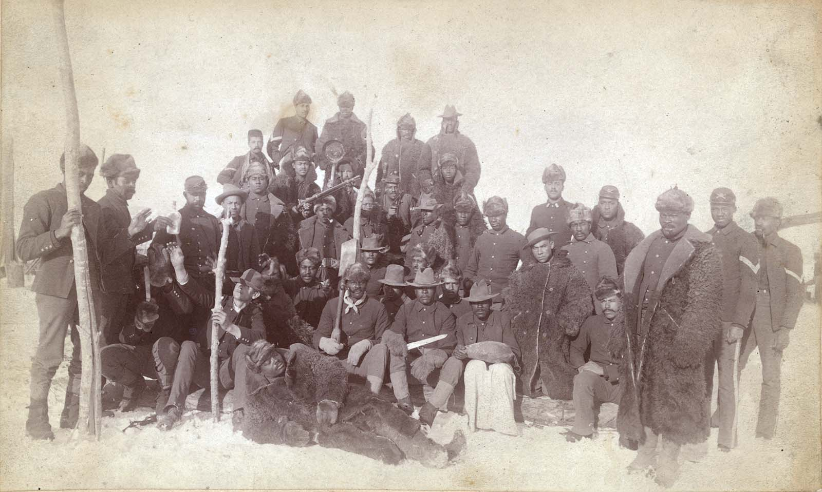 Buffalo soldiers of the 25th Infantry, Ft. Keogh, Montana, 1890. Library of Congress Prints and Photographs Division, Washington, DC 20540 USA. LC-DIG-ppmsca-11406