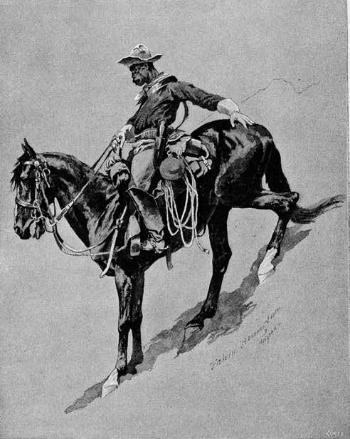 """A Scout with the Buffalo-Soldiers—A Study of Action,"" Frederic Remington, ""Century Magazine,"" Vol. 37, Issue 6, 1889. Collection of Dr. John Langellier, used by permission."