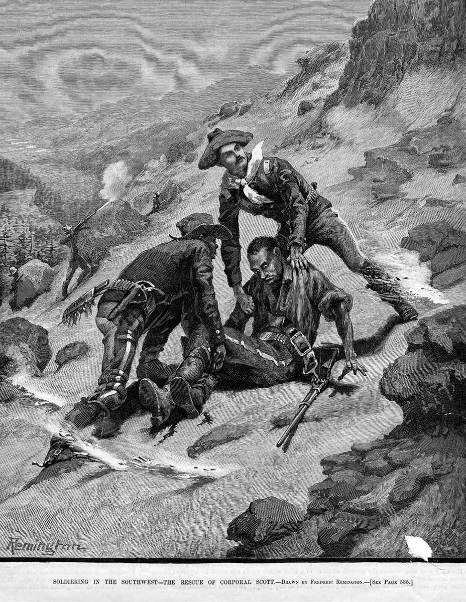 "Even as a cadet in a military prep school, young Frederic Remington gloried in the exploits of military heroes. ""The Rescue of Corporal Scott,"" which appeared on the cover of ""Harper's Weekly,"" August 21, 1886, helped launch Remington's career. The budding artist's rendering of this heroic deed by an untried-in-combat Second Lieutenant Powhatan Clarke also led to a friendship between the two men as they set out to make their marks in two different but sometimes converging worlds. Collection of Dr. John Langellier, used by permission."