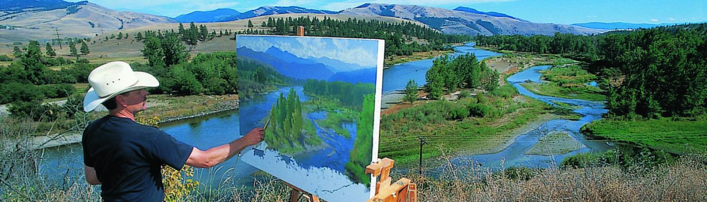 Charles Fritz painting at Traveler's Rest, just west of Lolo, Montana, one of the camping sites of Lewis and Clark and the Corps of Discovery. Photo courtesy Charles Fritz. (detail)