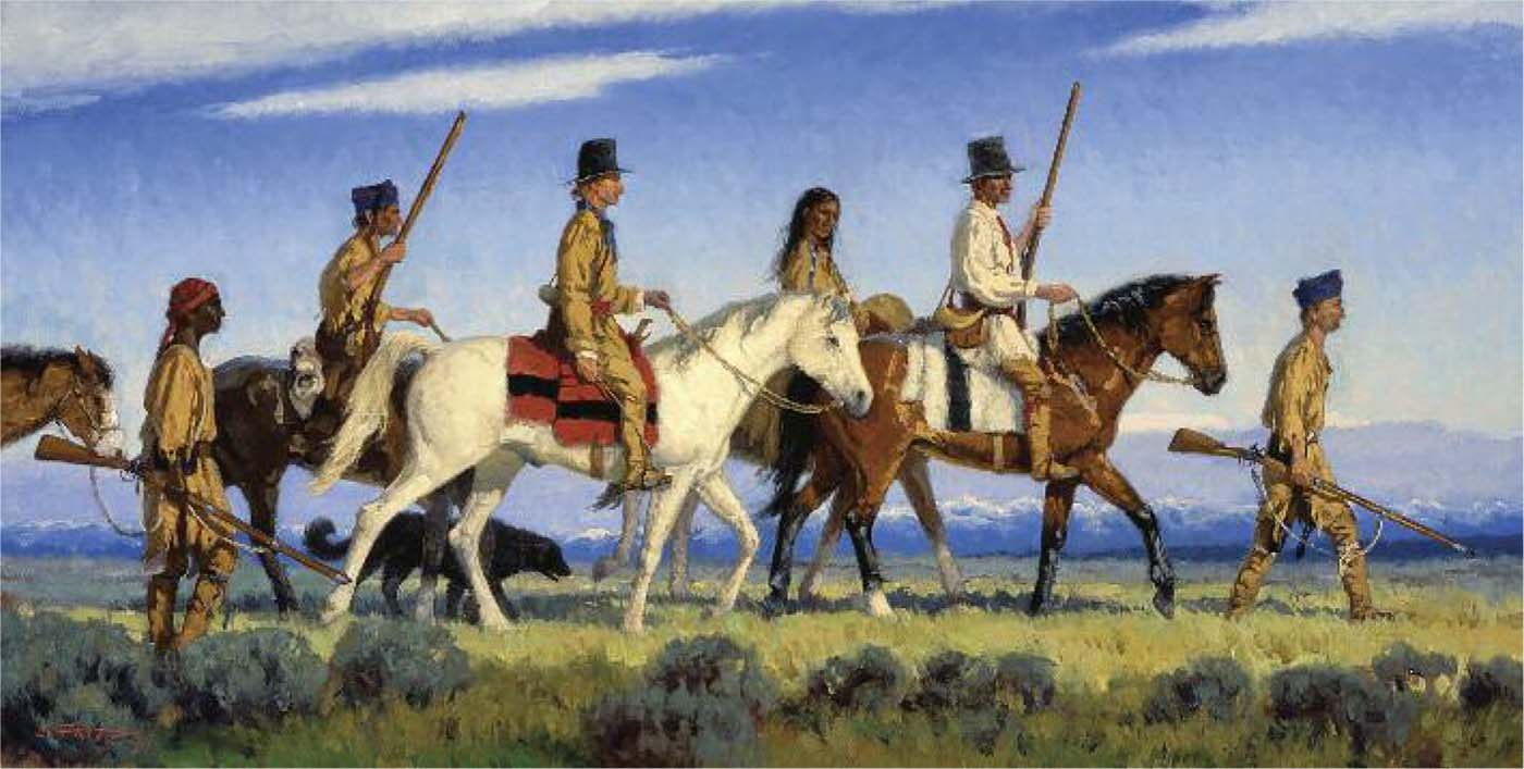"""Dixon's techniques, in particular, inspired """"We Proceeded On,"""" one of the works in the Lewis and Clark series. Charles Fritz (b. 1955). """"We Proceeded On,"""" 2004. Oil on canvas, 20 x 36 inches. Collection of Timothy Peterson."""