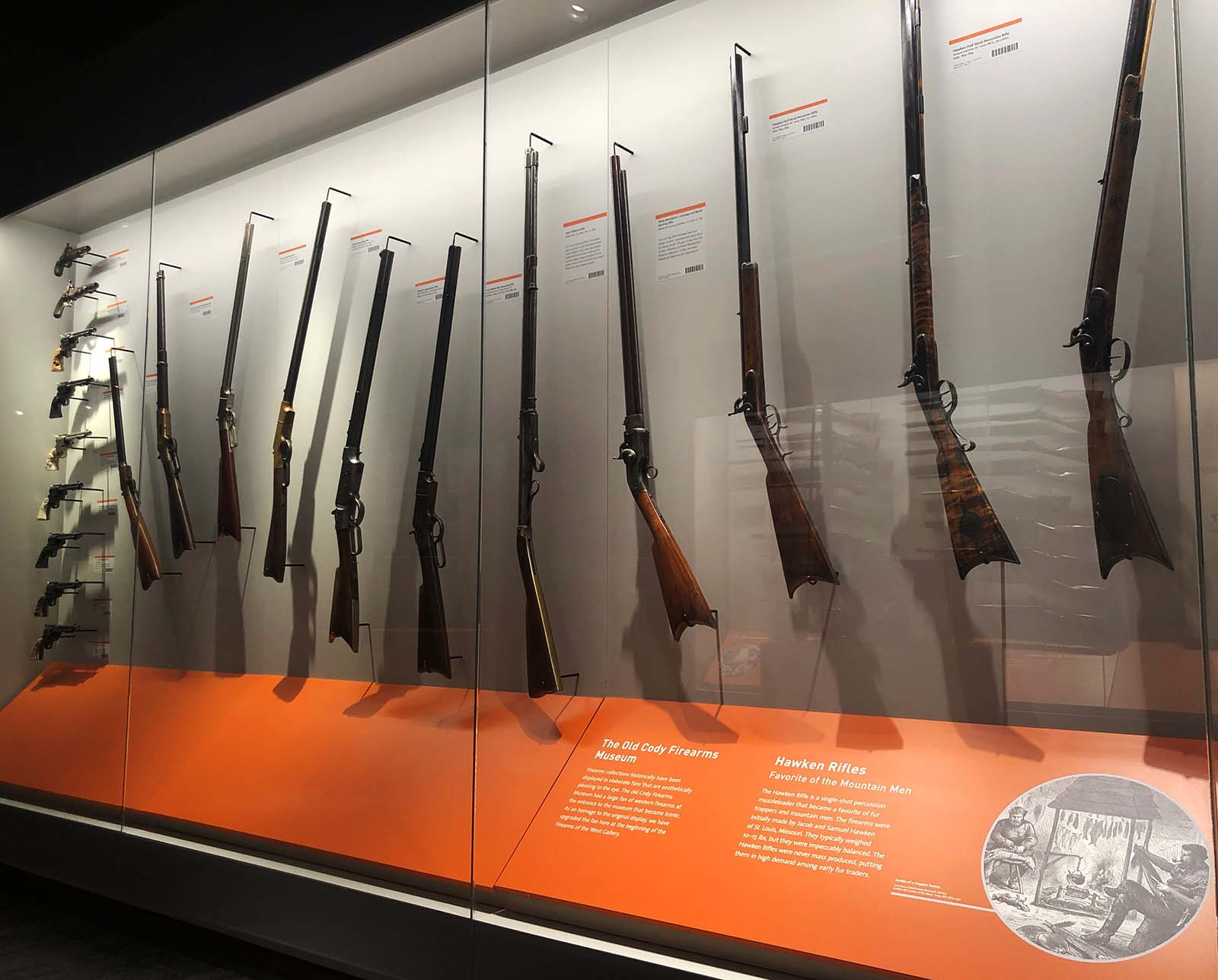 On display in the Cody Firearms Museum, O.F. Winchester's Jennings 2nd Model Sporting Rifle is fourth from the right.