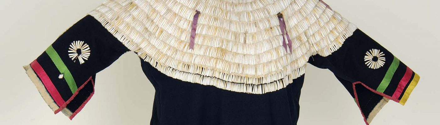 Dentalium Shell Dress, Lakota (Sioux), Northern Plains, ca. 1890. Wool, dentalium shells, and ribbon. Paul Dyck Plains Indian Buffalo Culture Collection. NA.202.1229 (detail)