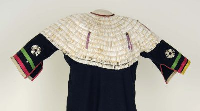 Dentalium Shell Dress, Lakota (Sioux), Northern Plains, ca. 1890. Wool, dentalium shells, and ribbon. Paul Dyck Plains Indian Buffalo Culture Collection. NA.202.1229 (detail)
