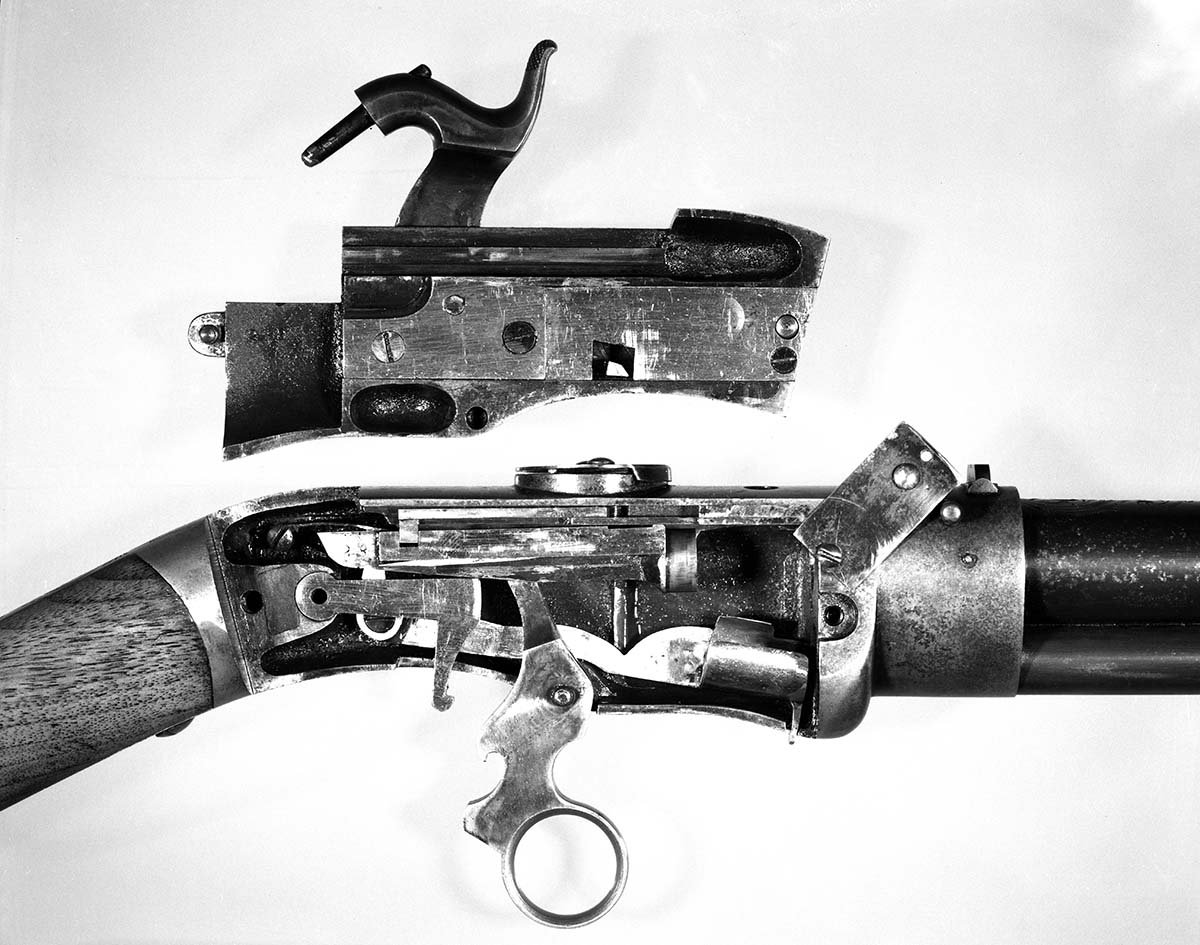 Jennings 2nd type rifle,  close-up of action. MS 20 Winchester Repeating Arms Collection, McCracken Research Library. P.20.1360