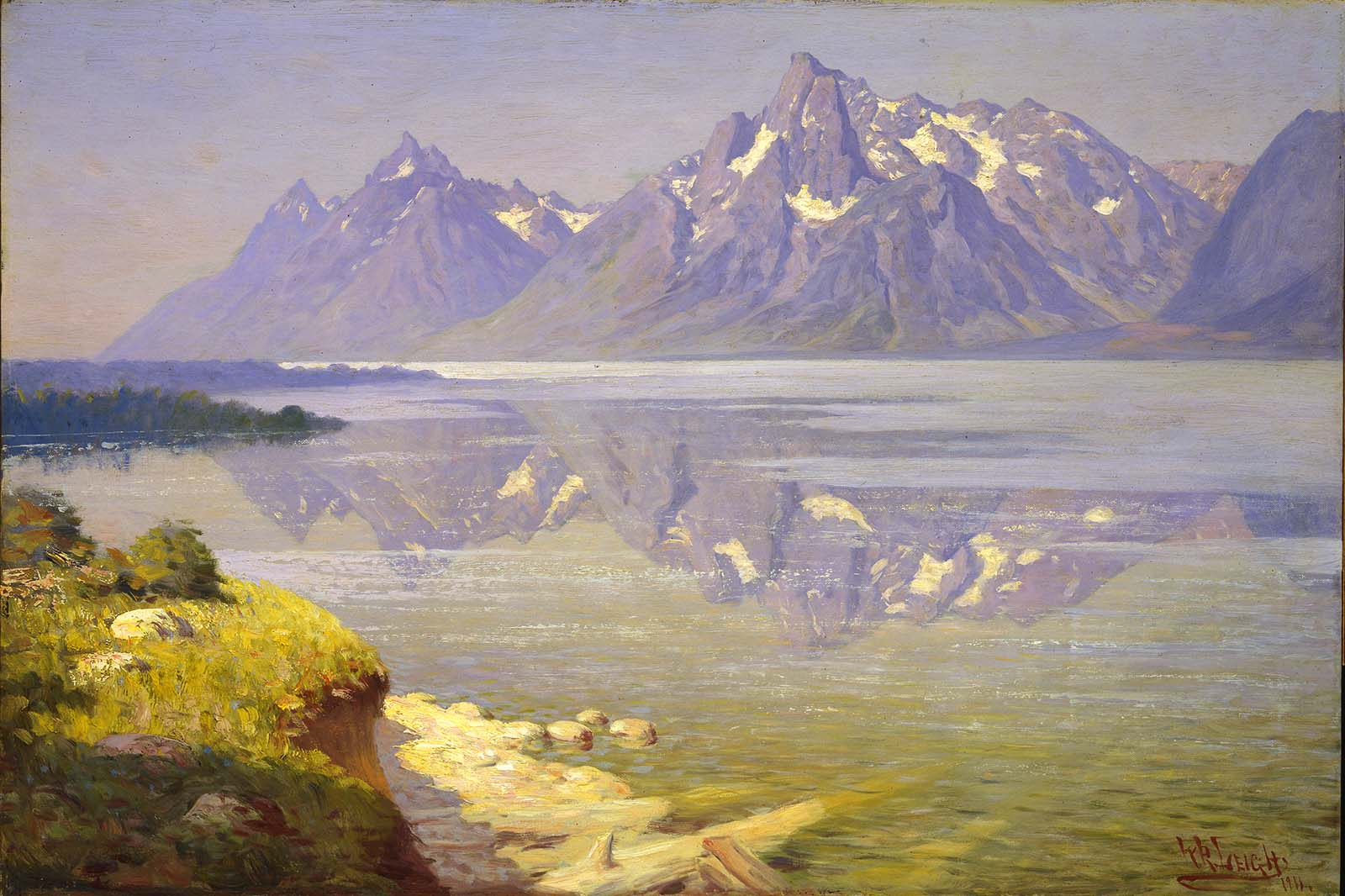 """William R. Leigh (1866-1955). """"The Three Tetons,"""" 1911. Oil on canvas. Gift of Michael Coleman (by exchange). 20.85"""