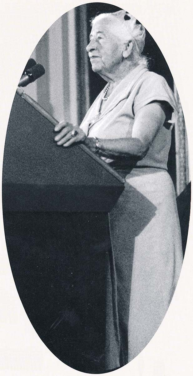 In her later years, Mardy Murie speaks at the White House. Photo courtesy The Murie Center, Moose, Wyoming; The Murie Collection.