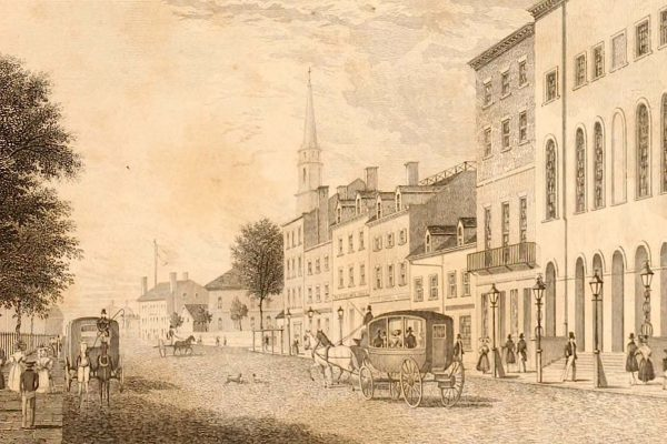 New York's Park Theatre (foreground) and environ, ca. 1830. Wikipedia.