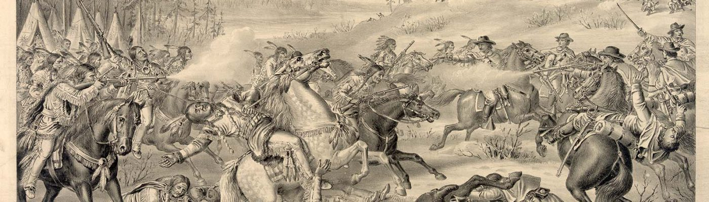 """Kurz and Allison print. """"Capture and Death of Sitting Bull,"""" January 5, 1891. Library of Congress Prints and Photographs Division Washington, DC, 20540 USA. LC-DIG-pga-01896"""