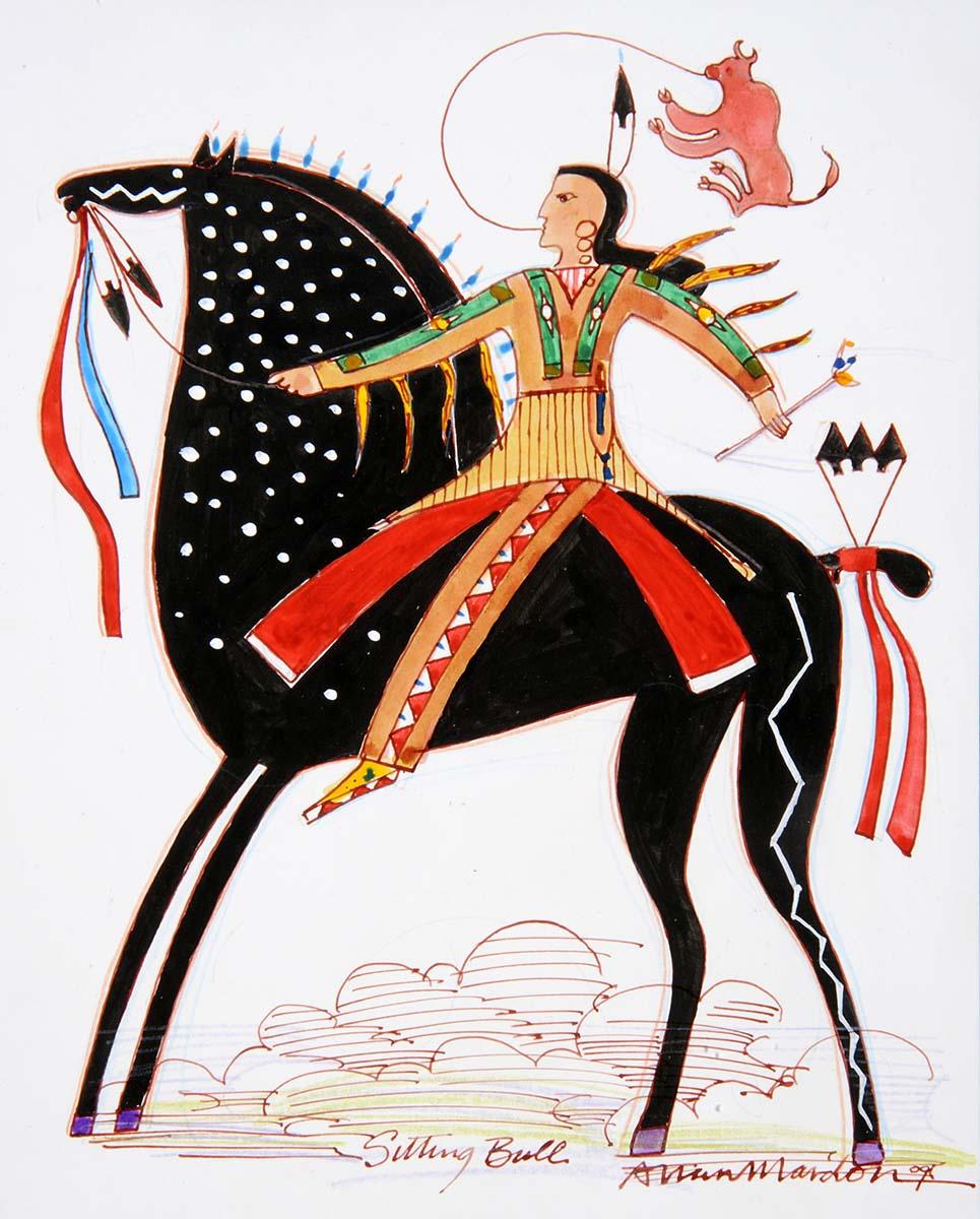"Allan Mardon (1931-2020). ""Sitting Bull,"" 2009. Marker on illustration board. Gift of the artist. 7.09"