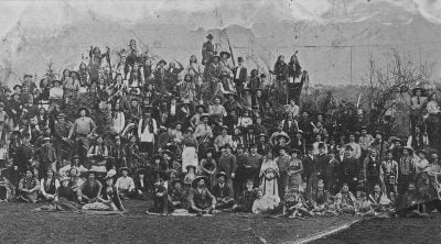 Fig. 7: Buffalo Bill's Wild West show cast and personnel, Earl's Court, London, England, May 1887. MS 6 William F. Cody Collection, McCracken Research Library. P.6.205