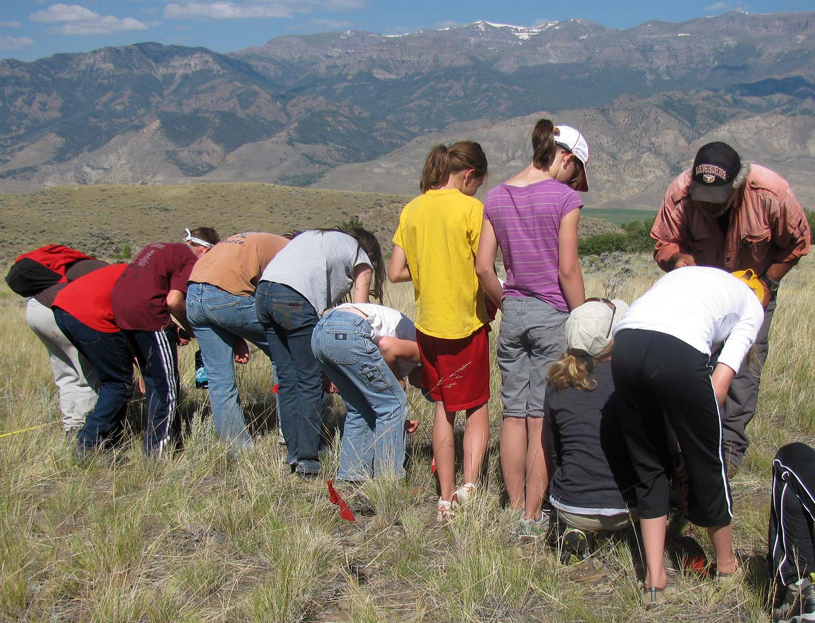 Looking for projectile points, students survey a plot with Dr. Lawrence Todd.