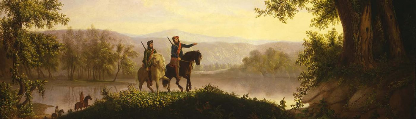 "Thomas Mickell Burnham (1818-1866). ""The Lewis and Clark Expedition,"" ca. 1850. Oil on canvas, 36.125 x 48.5 inches. Museum purchase. 21.78 (detail)"