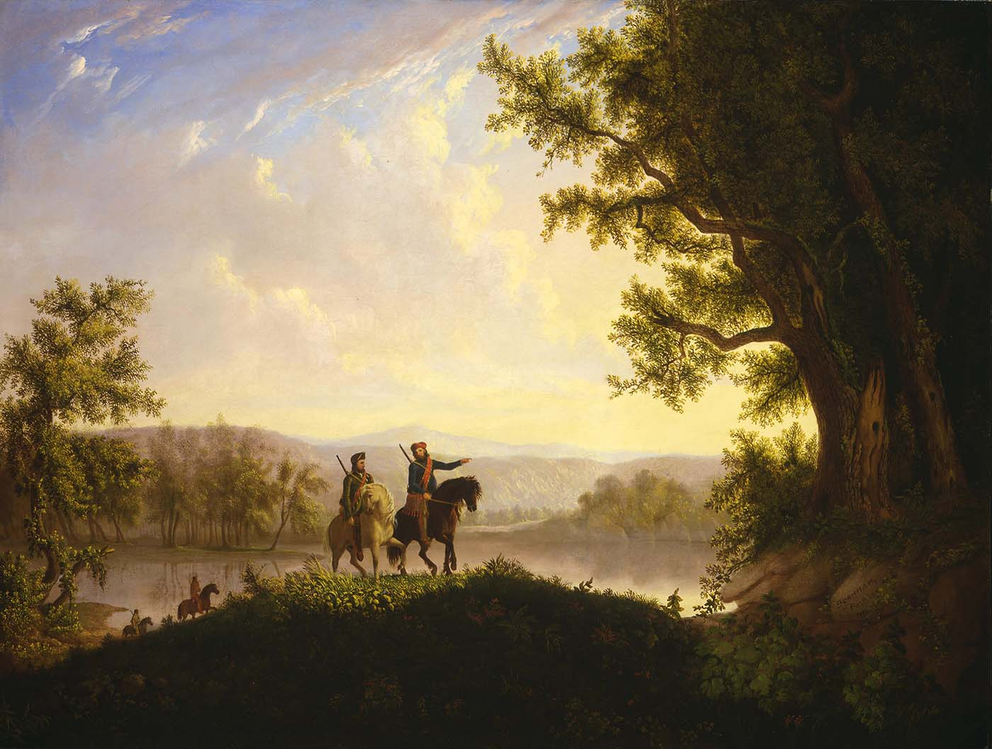 """Thomas Mickell Burnham (1818-1866). """"The Lewis and Clark Expedition,"""" ca. 1850. Oil on canvas, 36.125 x 48.5 inches. Museum purchase. 21.78"""