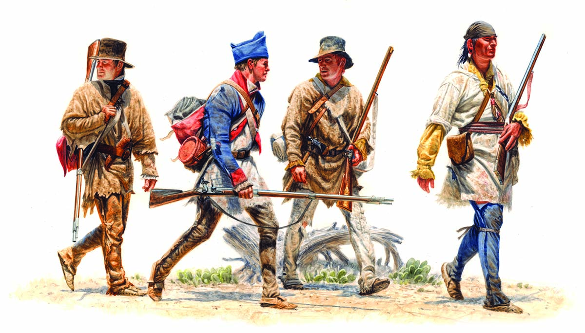 "Michael Haynes (b. 1956). ""The Scouts - John Potts, Richard Windsor, Hugh McNeal, and George Drouillard,"" 1805, 2008. Watercolor. Collection of Timothy Peterson. Image courtesy Michael Haynes."