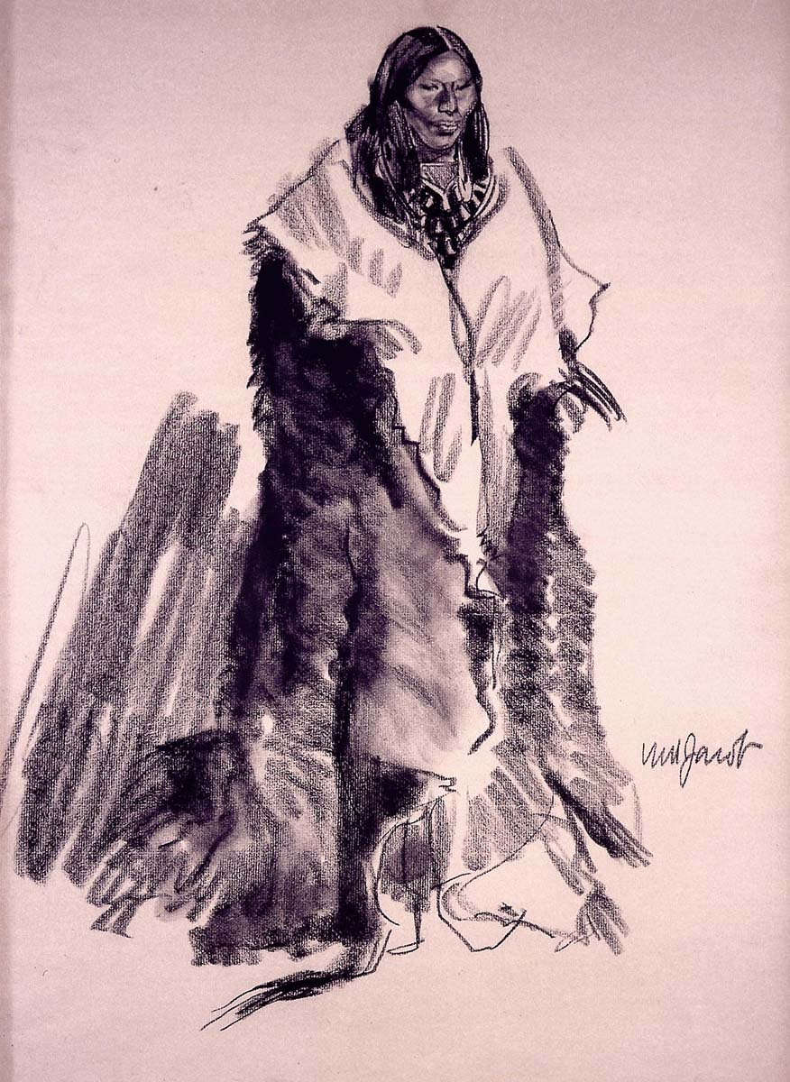 Ned Jacob (b. 1938). Crow Woman Winter, ca. 1976. Charcoal on toned paper. Museum purchase. 4.76