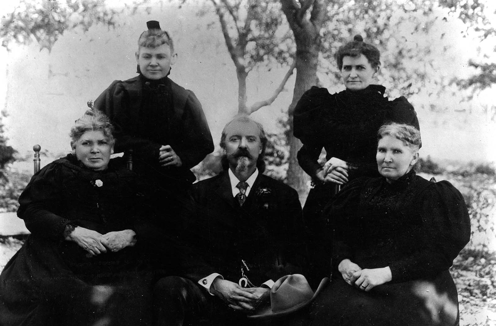 William F. Cody and his sisters, 1896. MS 6 William F. Cody Collection, McCracken Research Library. P.69.1057