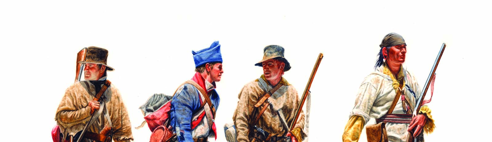 """Michael Haynes (b. 1956). """"The Scouts—John Potts, Richard Windsor, Hugh McNeal, and George Drouillard,"""" 1805, 2008. Watercolor. Collection of Timothy Peterson. Image courtesy Michael Haynes. (detail)"""