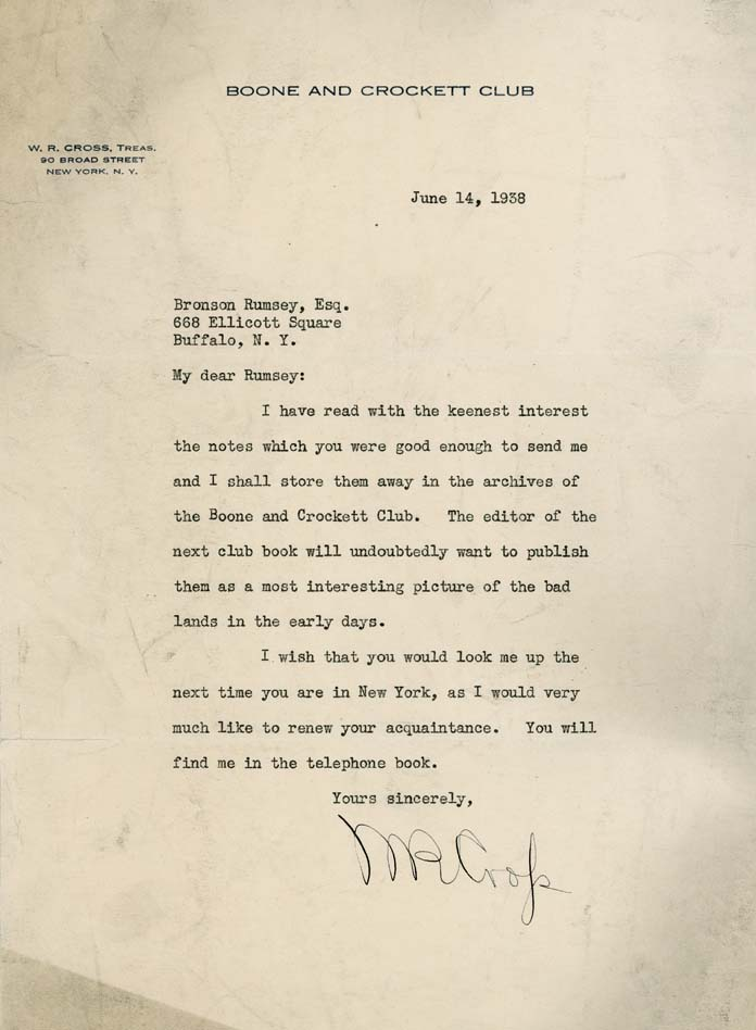 The Boone and Crockett Club was interested in Rumsey's story about badlands. MS 407 Bronson Rumsey Collection, McCracken Research Library. MS407.1.15.03