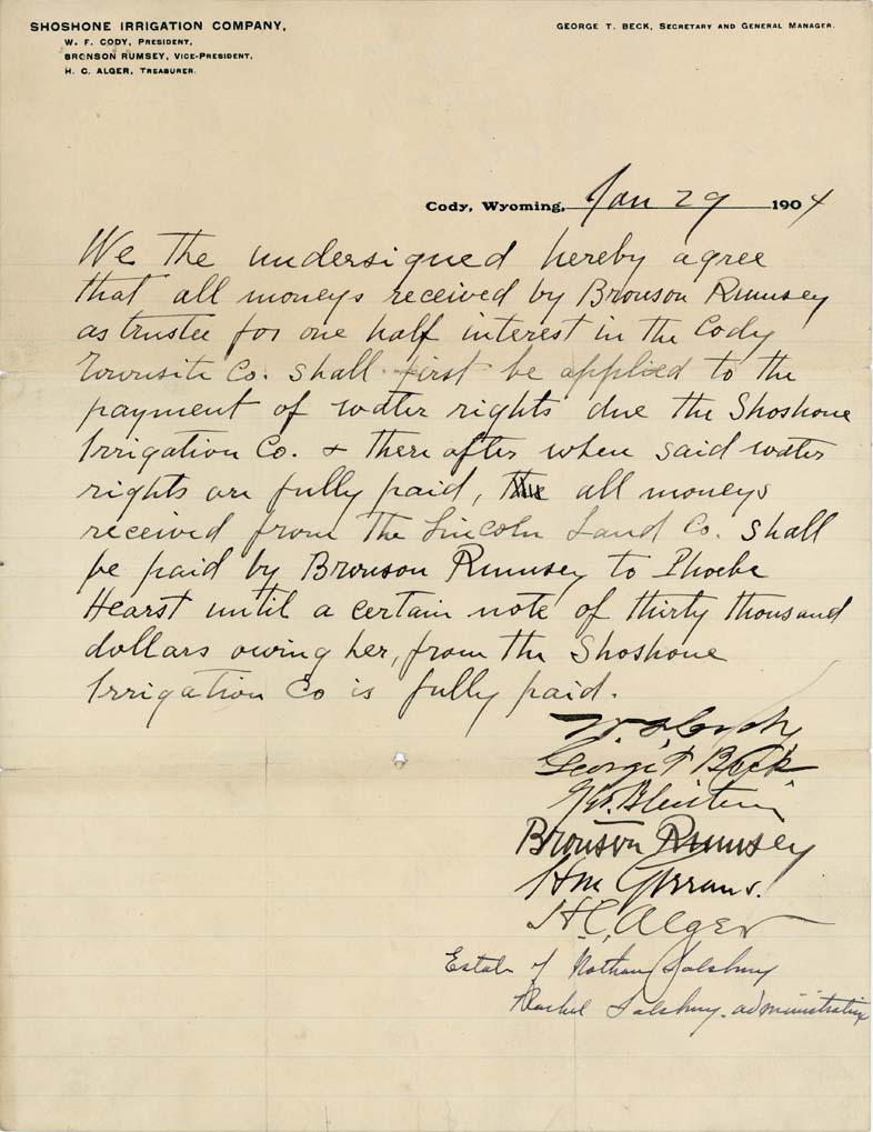 Shoshone Irrigation Company agreement, January 29, 1904. MS 407 Bronson Rumsey Collection, McCracken Research Library. MS407.1.10.01