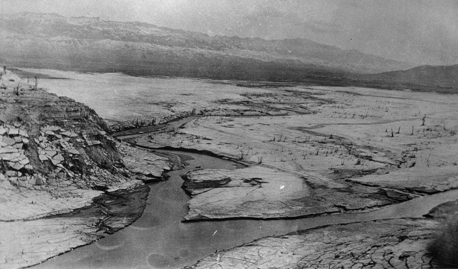 Shoshone Irrigation Company partners hoped the Shoshone River - shown here before the Buffalo Bill Dam - could irrigate lands downstream. Jack Richard Collection. MS 89 Jack Richard Photograph Collection, McCracken Research Library. P.89.88