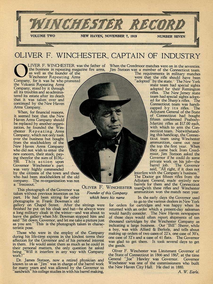 Winchester establishes his company in 1866. Winchester Record, November 7, 1919. Gift of the Winchester Corporation. WR1919.V2.07.001