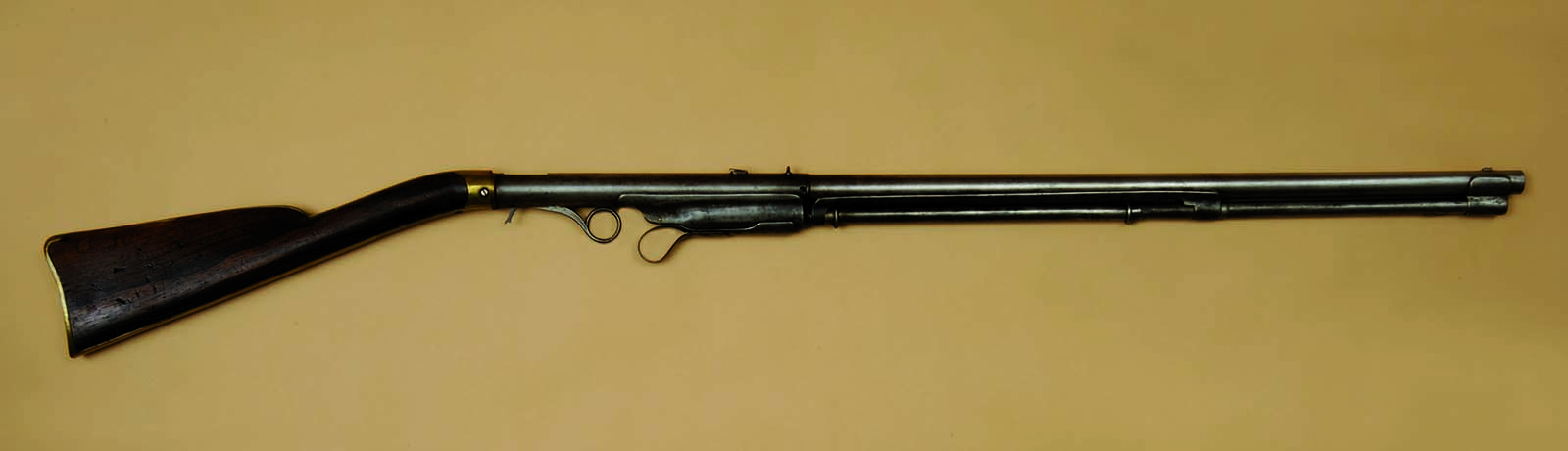 Hunt Volitional Repeater, the earliest direct ancestor of what became the Winchester repeating rifle, ca. 1848. Gift of Olin Corporation, Winchester Arms Collection. 1988.8.150