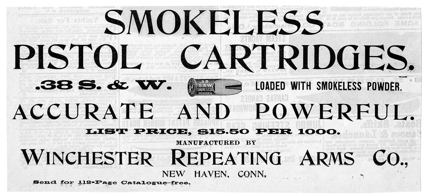 """Winchester ad for smokeless cartridges, """"Forest and Stream"""" magazine, June 1, 1895. MS 111 Roy Marcot Firearms Advertisement Collection. WIN.FORS.1895.6.1"""