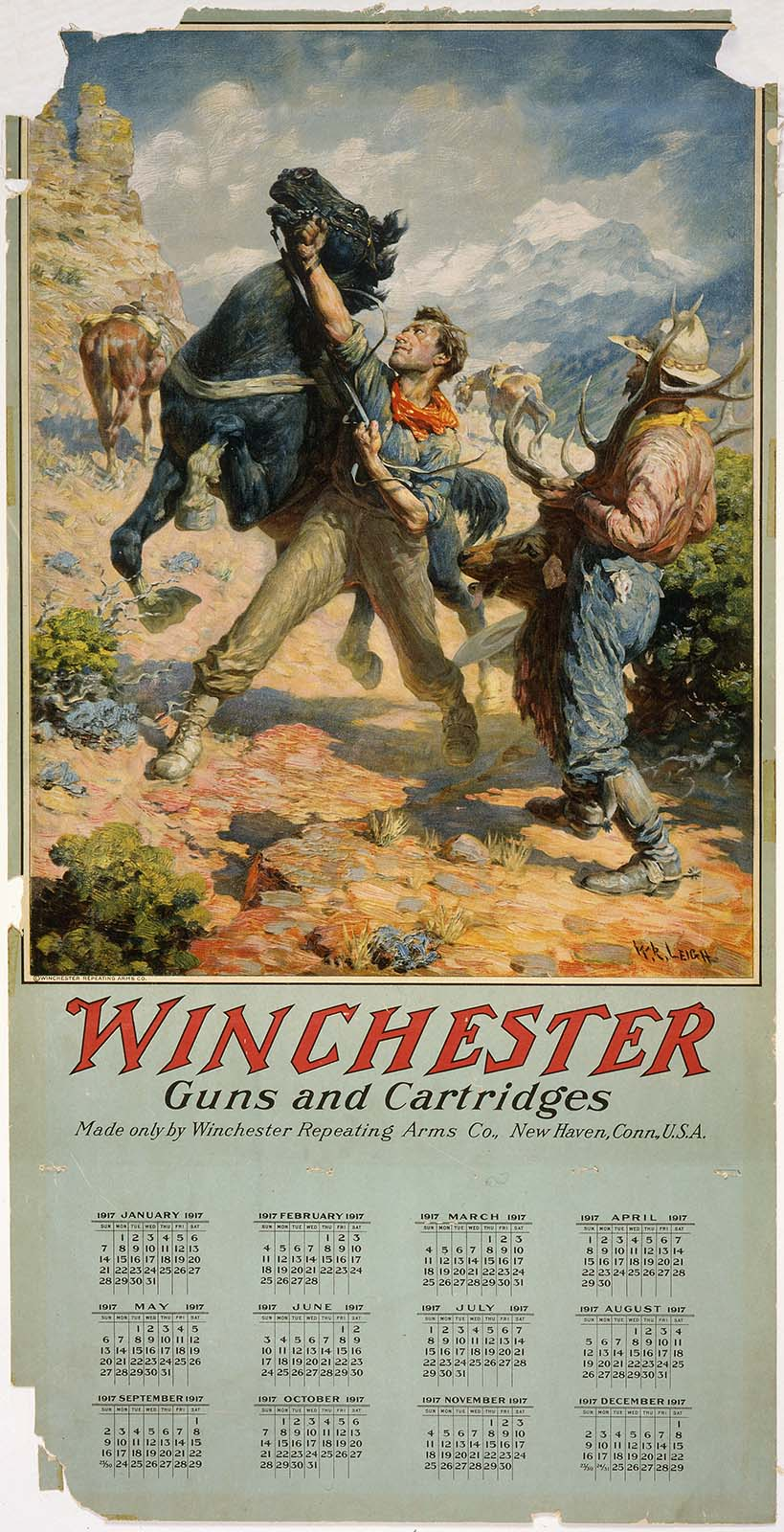 Winchester calendar, 1917. Gift of Olin Corporation, Winchester Collection. 1988.8.871
