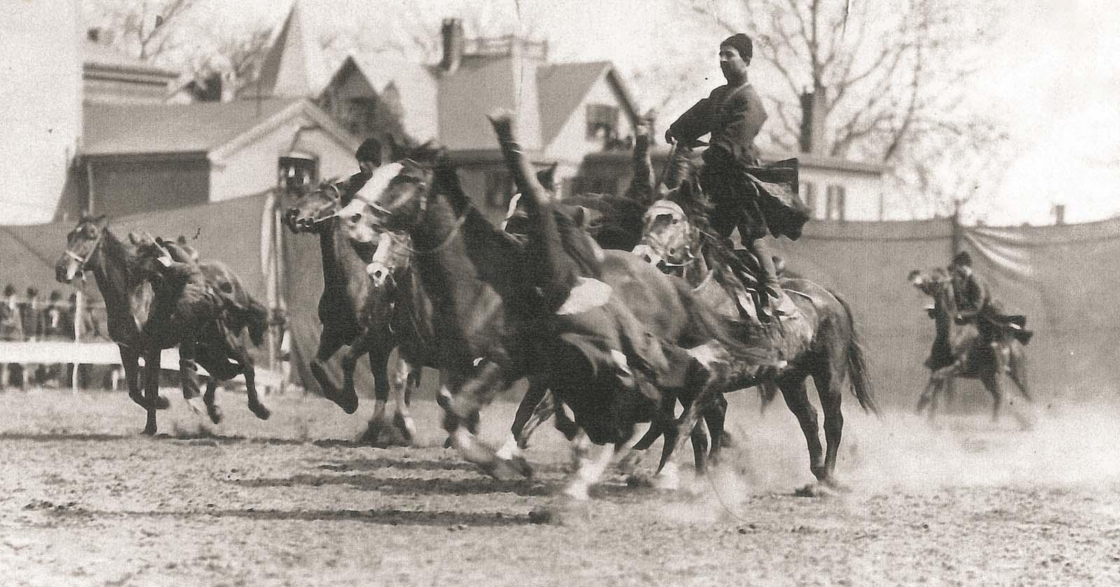 Trick riding, ca. 1902, United States. Collection of Irakli Makharadze.