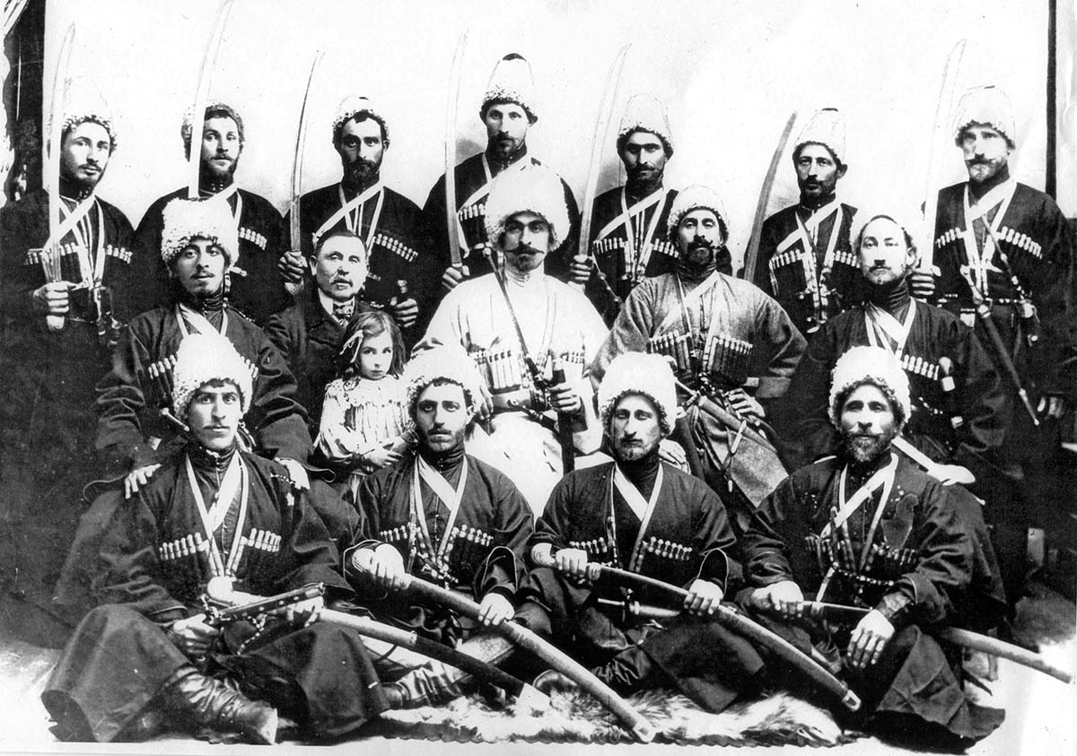 Georgian trick riders with weapons, 1903. Collection of Irakli Makharadze.