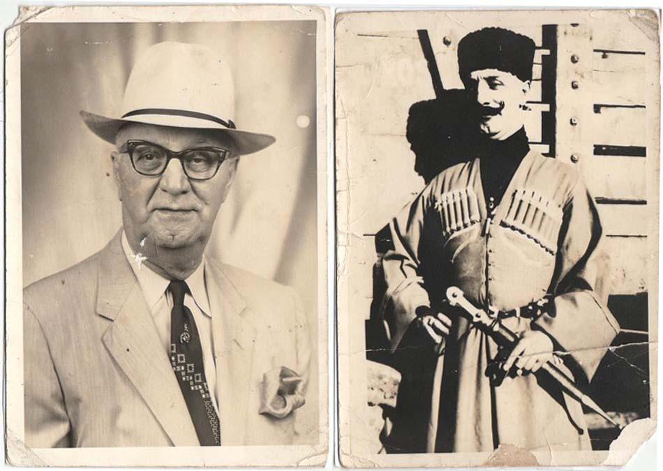 Vaso Tsuladze, a.k.a. Sam Sergie, 1961 (left) and 1914. Collection of Irakli Makharadze.