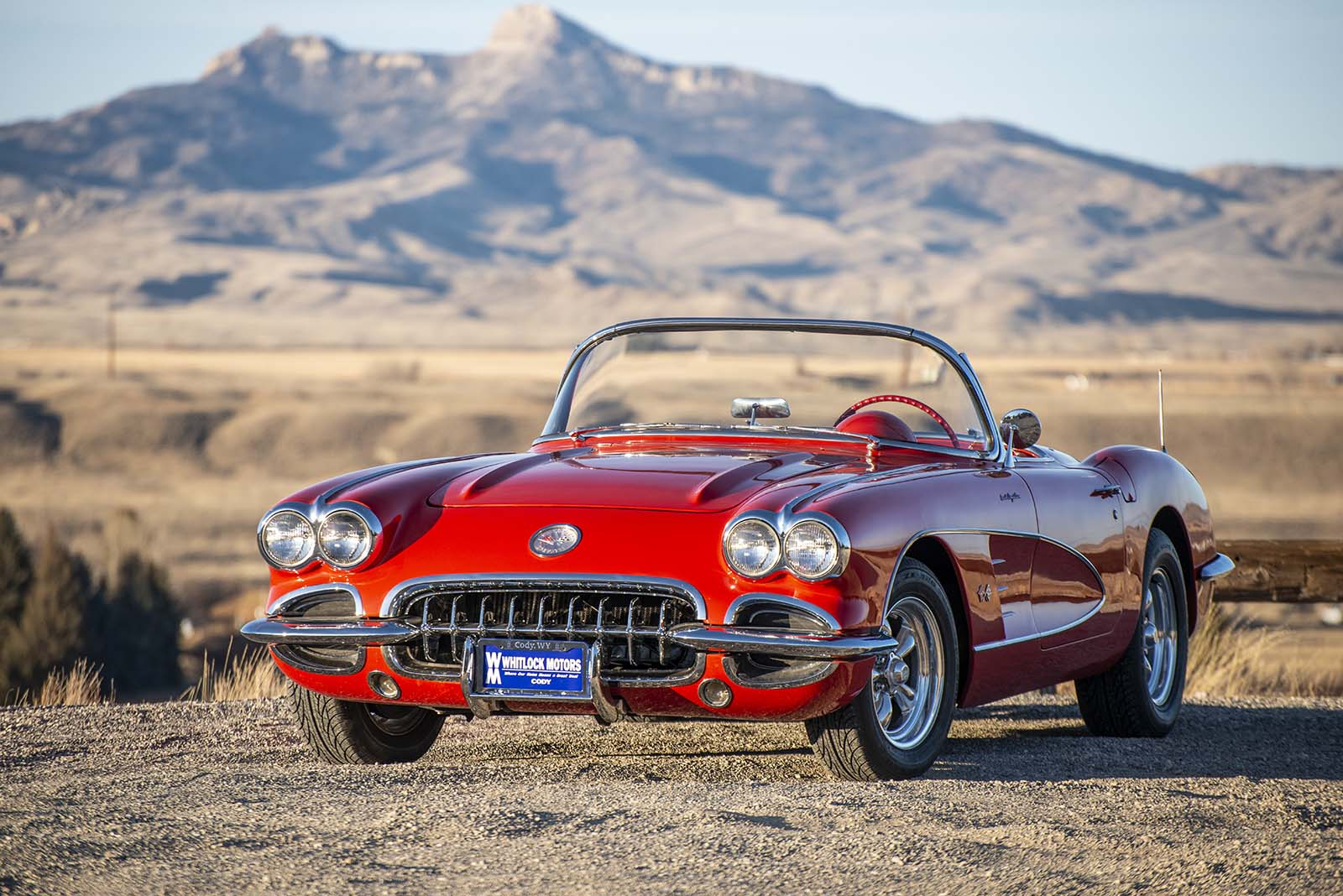 Points West blog 315: Corvette with Heart Mountain in background