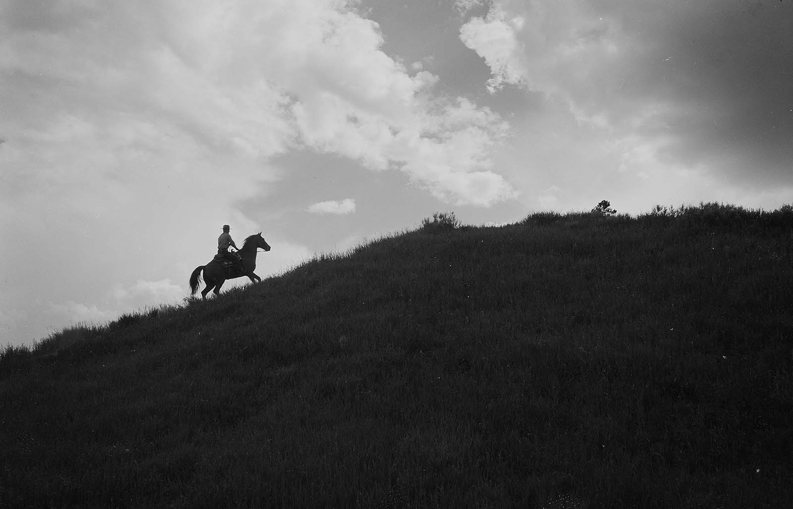 Ranger Bob Richard rides into the sunset at the end of the day. Photo taken southwest of Fishing Bridge, Yellowstone National Park, 1960.