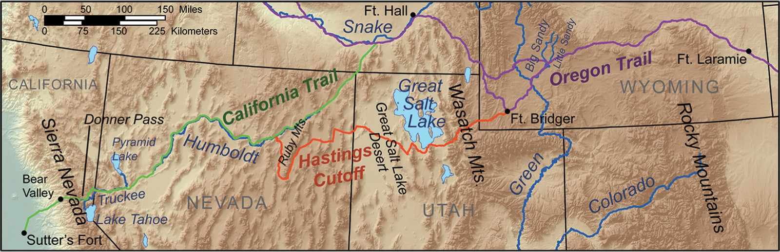 The Donner Party route map with the Hastings Cutoff marked in red. Wikipedia.
